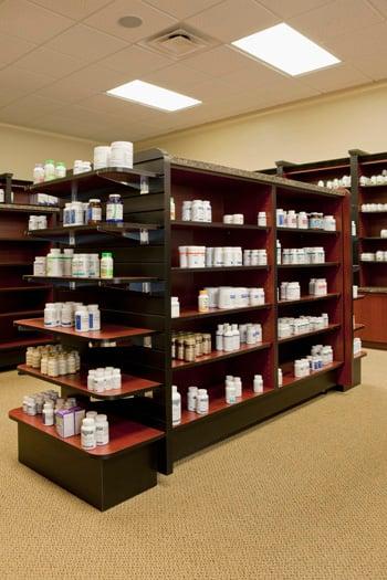 shelf obsessed modern pharmacy design
